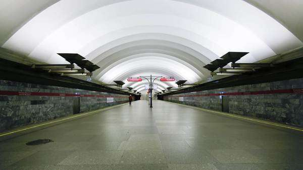 Russia, Saint Petersburg, Metro station platform - timelapse Royalty-free stock video