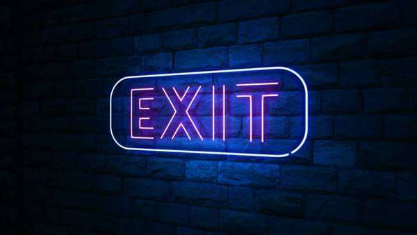 Animation Of Exit Neon Light Sign At Urban Wall In The