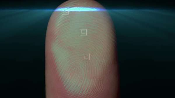 Conceptual representation of a fingerprint being scanned for identification purposes. Rights-managed stock video