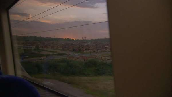 POV of the landscape from a train window Royalty-free stock video