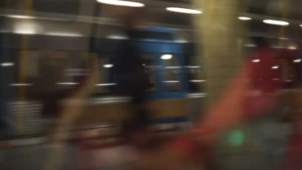 Medium shot of people traveling on a subway car Royalty-free stock video