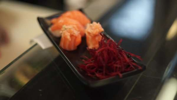 Close-up shot of a chef preparing sushi in a restaurant Royalty-free stock video