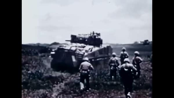 1945 - Combat footage from the Battle for Sugar Loaf Hill shows US Marines  to be the ultimate victor  stock footage