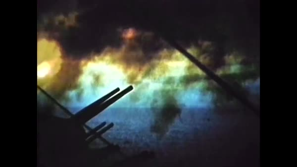 1950s - Combat footage from the Korean War shows US Naval jets protecting  an aircraft carrier from enemy planes  stock footage
