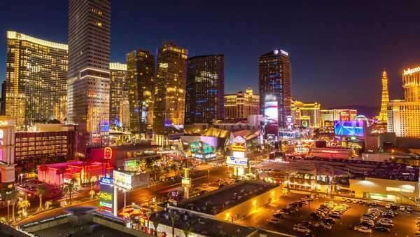 Hyperlapse of downtown Las Vegas,  Nevada Rights-managed stock video