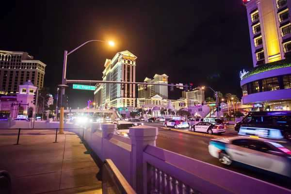 Hyperlapse of Las Vegas at night in Nevada,  USA Rights-managed stock video