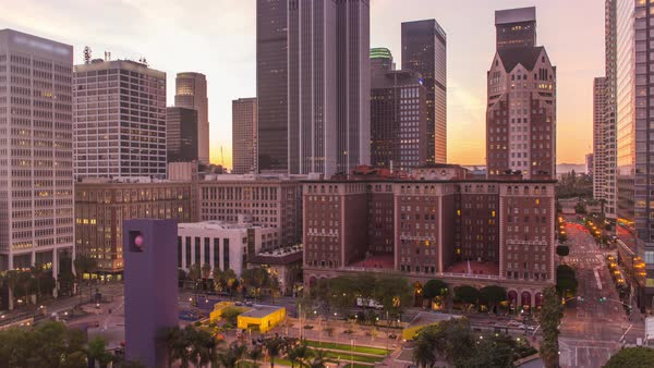 Timelapse shot of Downtown Los Angeles at sunset Royalty-free stock video