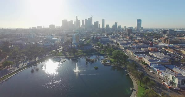 Aerial shot of MacArthur Park, Los Angeles Royalty-free stock video
