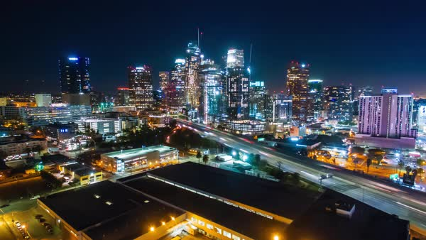 Hyperlapse of Downtown Los Angeles at night Royalty-free stock video