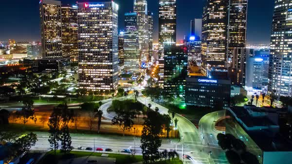 Hyperlapse of skyscrapers in Los Angeles Royalty-free stock video