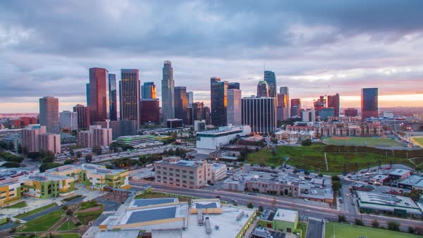 Hyperlapse of Downtown Los Angeles at sunset Royalty-free stock video