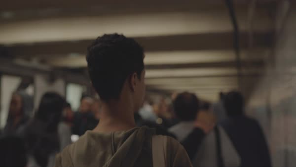 Point-of-view shot of a woman walking through a subway tunnel Royalty-free stock video
