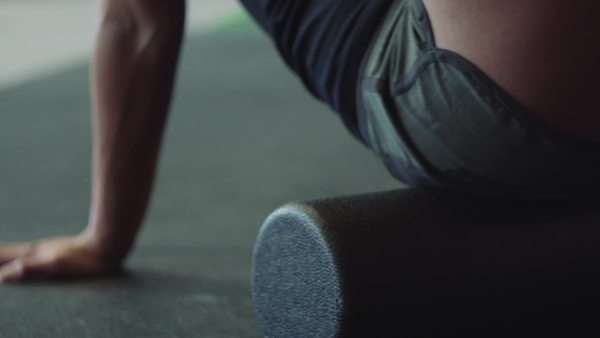 Cinematic closeup of female on foam roller Royalty-free stock video