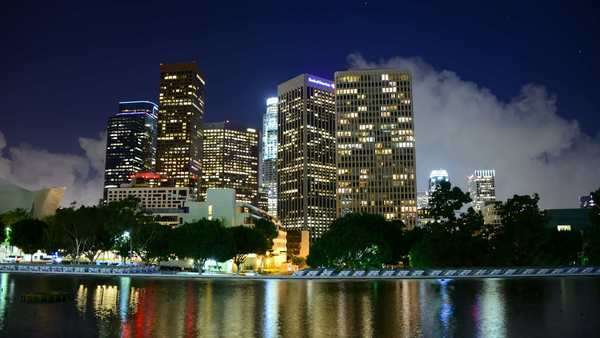 Timelapse of Scenic Downtown Los Angeles at Night with Clouds Royalty-free stock video