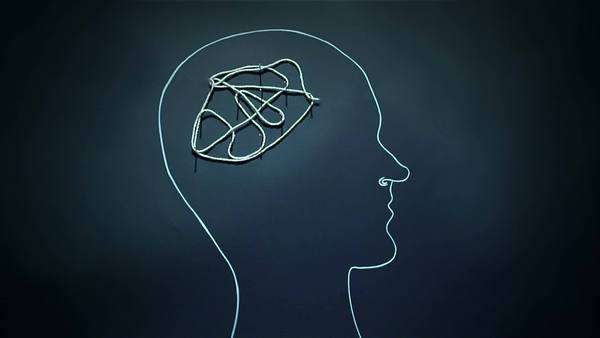 Panic attack or mind activity illustrated with tightening rope as model of  the brain stock footage