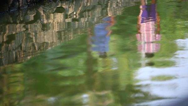 Close up shot of the reflection of people on a riverside Royalty-free stock video