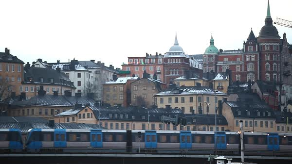 Wide shot of a train in Stockholm, Sweden Royalty-free stock video