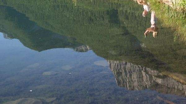 Wide shot of the water with the reflection of a couple taking photos Royalty-free stock video