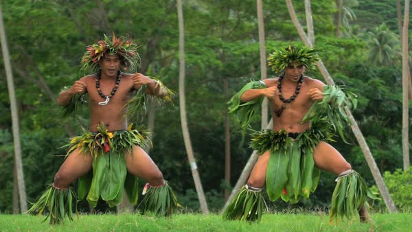 Young Tahitian Males Performing Warrior Style Hula Dance