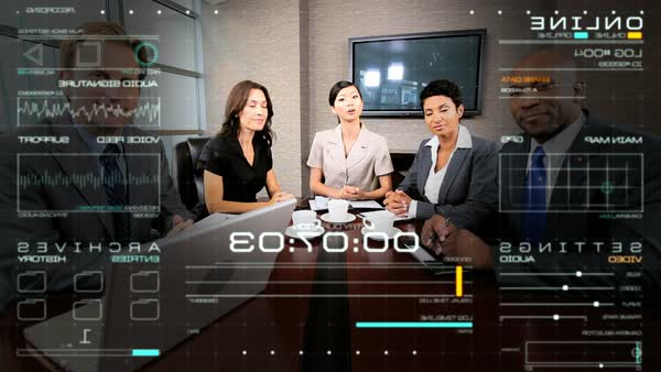 Portrait of multi ethnic business team using video call streaming motion  graphics online communication technology in the office boardroom stock