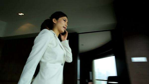 Ambitious Smart Phone Asian Chinese Businesswoman Shanghai Hotel View Royalty-free stock video