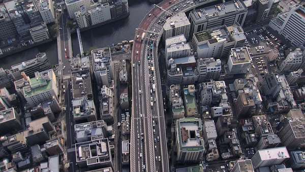 Aerial overhead Tokyo city vehicle commuter Expressway Japan Royalty-free stock video