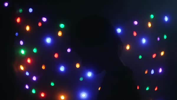 Slow motion of a boy staring at flashing lights Royalty-free stock video