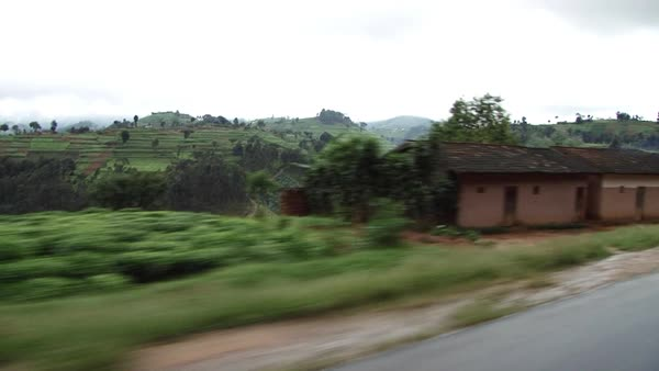 POV shot of terraced fields in Africa Rights-managed stock video
