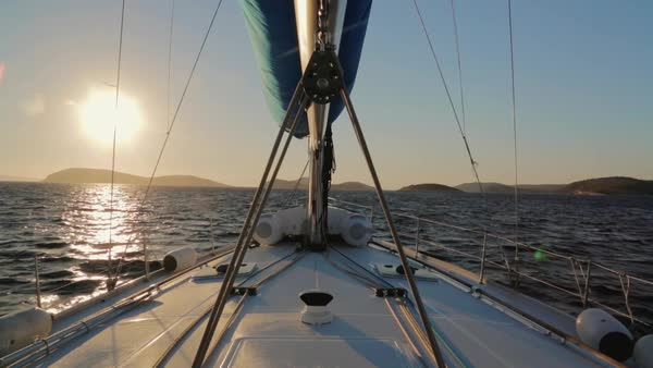 Medium shot of the bow of a boat Rights-managed stock video
