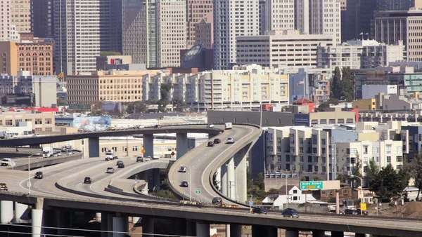 Freeway and downtown San Francisco Royalty-free stock video