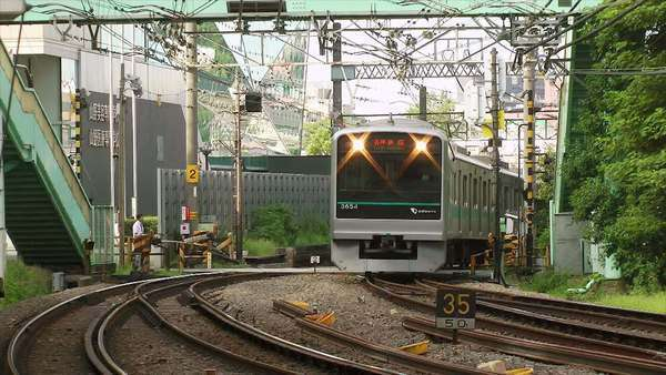 Commuter train passing by, train tracks, Tokyo, Japan Royalty-free stock video