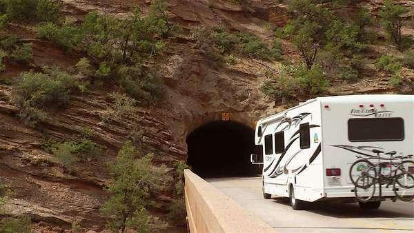 Mount Carmel Tunnel in Zion National Park, Utah Royalty-free stock video