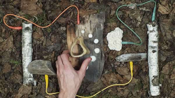 Stop motion of piece of woods connected with cables Royalty-free stock video