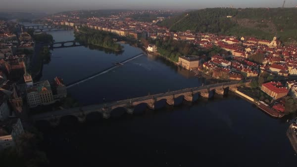 Aerial sunrise view along Vltava river in the summer Royalty-free stock video