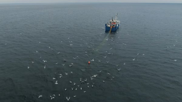 Flying towards a commercial fishing ship that pulls trawl net Royalty-free stock video