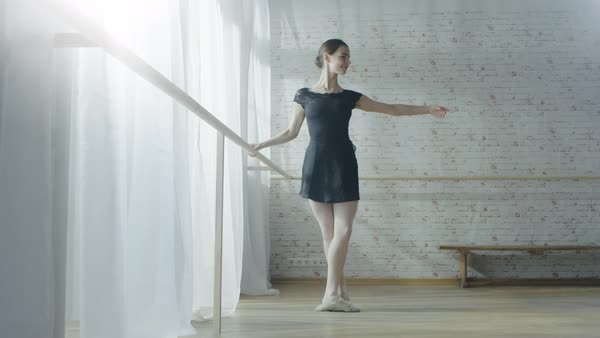 Long shot of a young and beautiful ballerina exercising dancing at the barre Royalty-free stock video