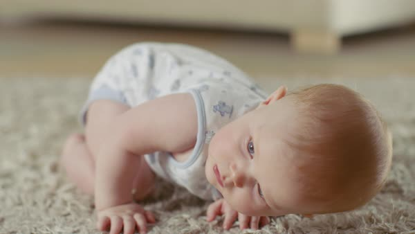 Close-up shot of a cute little baby crawling on a carpet. Royalty-free stock video