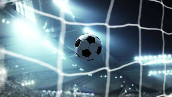 Soccer ball flying in stadium Royalty-free stock video
