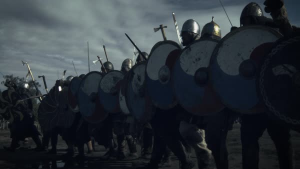 Shot of advancing army of viking warriors Royalty-free stock video