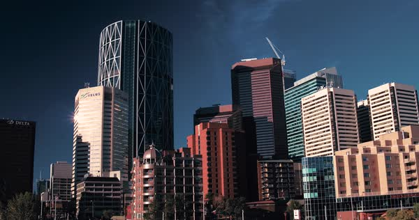 An aerial shot of the Downtown Calgary Skyline during a summer morning Royalty-free stock video
