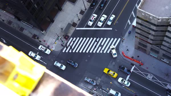 High angle shot of traffic in a street in downtown Philadelphia Rights-managed stock video