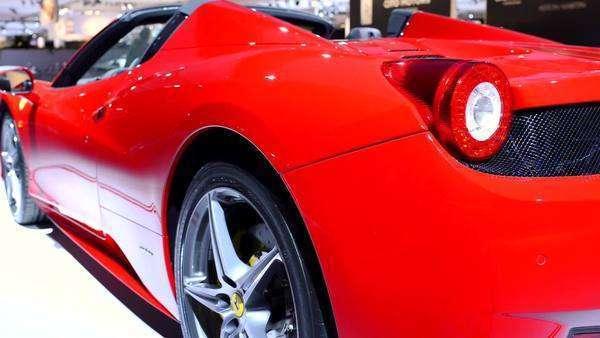 Ferrari 458 Spider V8 Sports Car Rear View At The 2015 Amsterdam