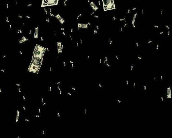 Computer Animated Imagery Of Lots Of Cash Raining Down Against A