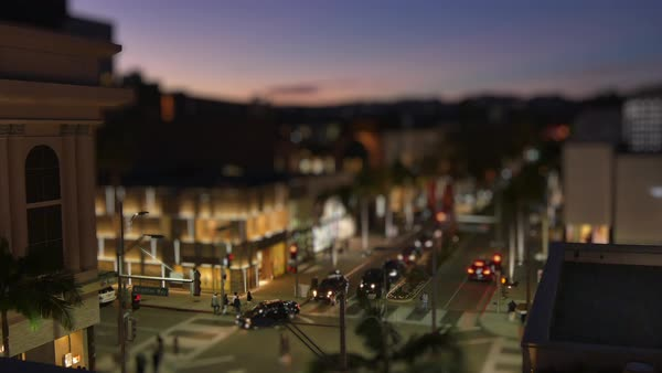 BEVERLY HILLS, CA - Circa February, 2016: A night tilt shift timelapse of Rodeo Drive.    Royalty-free stock video