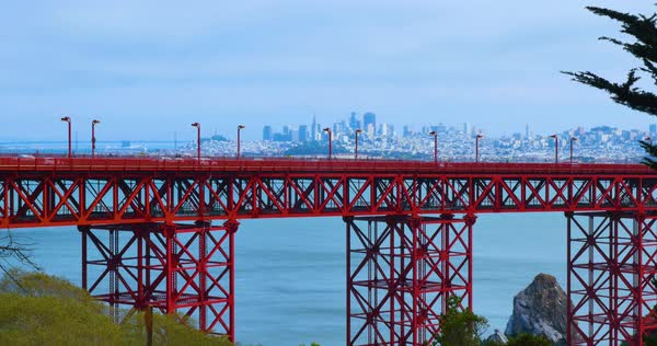 A static profile view establishing shot of traffic on the Golden Gate Bridge with the city skyline in the distance. Royalty-free stock video