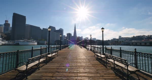 A stationary San Francisco city skyline shot as seen from the far end of Pier 7. Royalty-free stock video