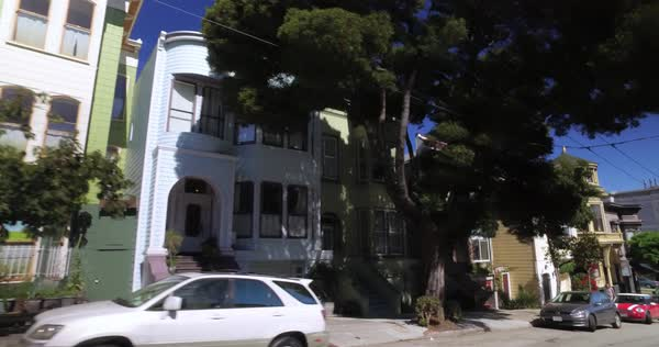 A driver's perspective on the residential streets of San Francisco. Royalty-free stock video