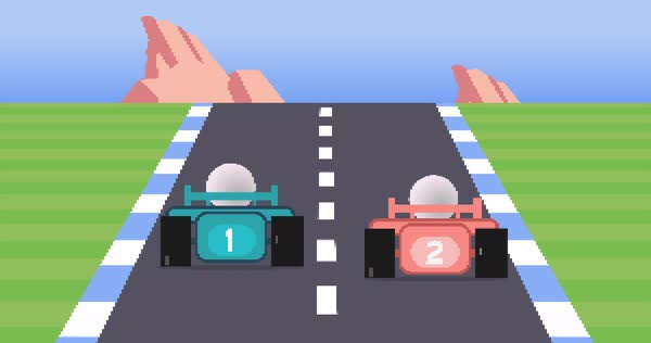 A simulated 1980s 8-bit racing video game animation.    Royalty-free stock video