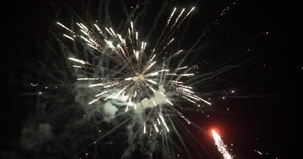 A slow motion view of fireworks on the 4th of July. Grand finale Royalty-free stock video