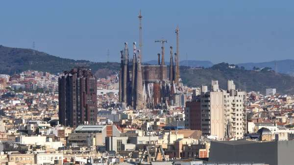 BARCELONA, CATALONIA, SPAIN - Circa October, 2014 - An establishing shot of Barcelona as seen from atop Montjuïc. Royalty-free stock video